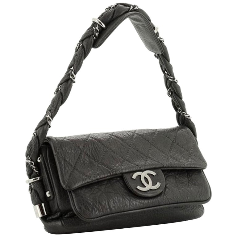 Chanel Classic Flap Braid Quilted Small Black Distressed Lambskin Shoulder Bag For Sale