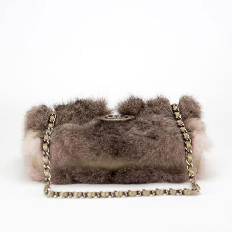 Black Chanel Classic Flap Brown and Beige Fur Deerskin Leather Shoulder Bag For Sale