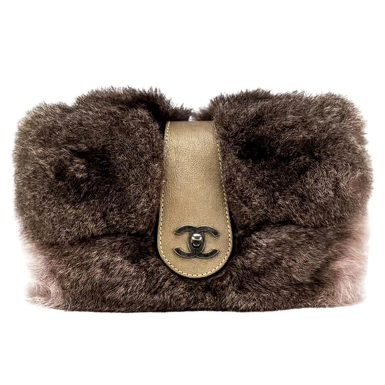 Chanel Classic Flap Brown and Beige Fur Deerskin Leather Shoulder Bag For Sale