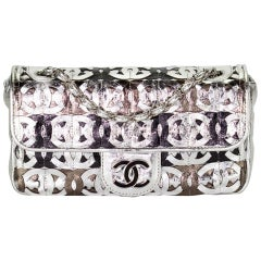 Chanel Classic Flap Cc Laser Cut Metallic Silver Leather Shoulder Bag