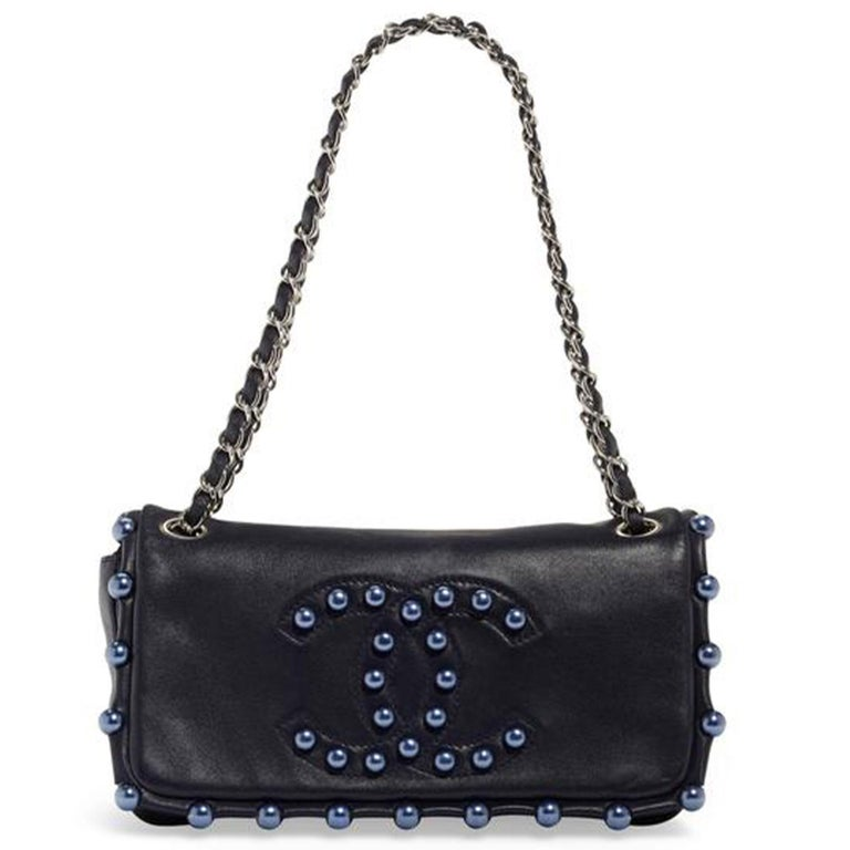 Chanel Classic Flap CC Obsession Rare Black with Dark Blue Pearls Lambskin Bag For Sale 3