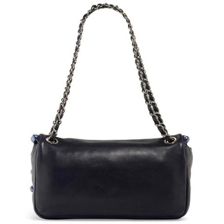 Chanel Classic Flap CC Obsession Rare Black with Dark Blue Pearls Lambskin Bag In Excellent Condition For Sale In Miami, FL