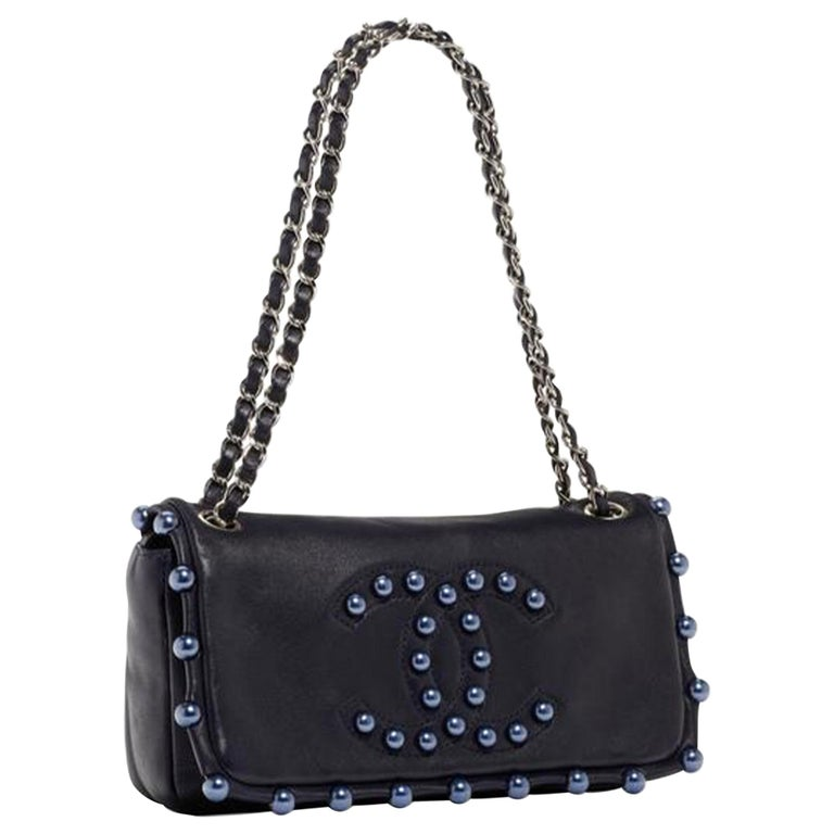 Chanel Classic Flap CC Obsession Rare Black with Dark Blue Pearls Lambskin Bag For Sale