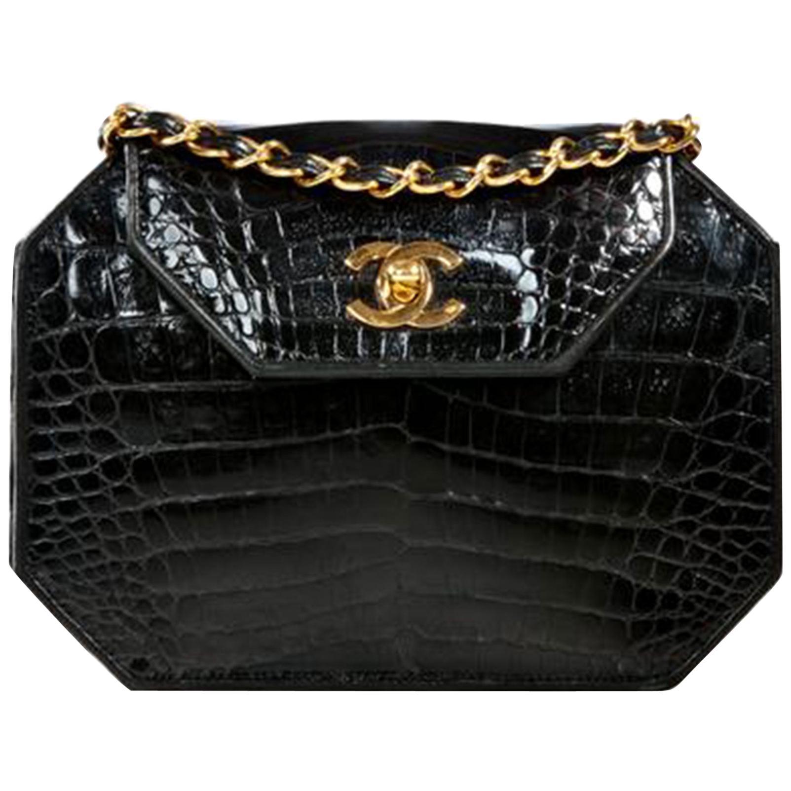 Chanel Classic Flap Clutch Vintage 80's Gold Cc Closure Black Crocodile Skin Bag