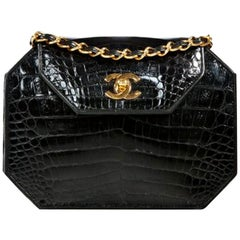 Chanel Classic Flap Clutch Vintage 80's Gold Cc Closure Black Crocodile Skin Bag