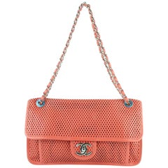 Chanel Classic Flap Coral Up In The Air Chain 5ce0103 Red-orange Shoulder Bag