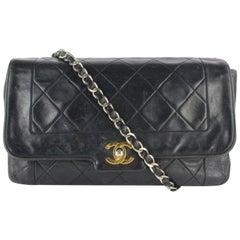 Chanel Classic Flap Diana Lambskin 12cz0130 Black Leather Cross Body Bag