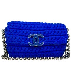 Chanel Classic Flap Electric Crochet Collectors Blue Cloth Shoulder Bag