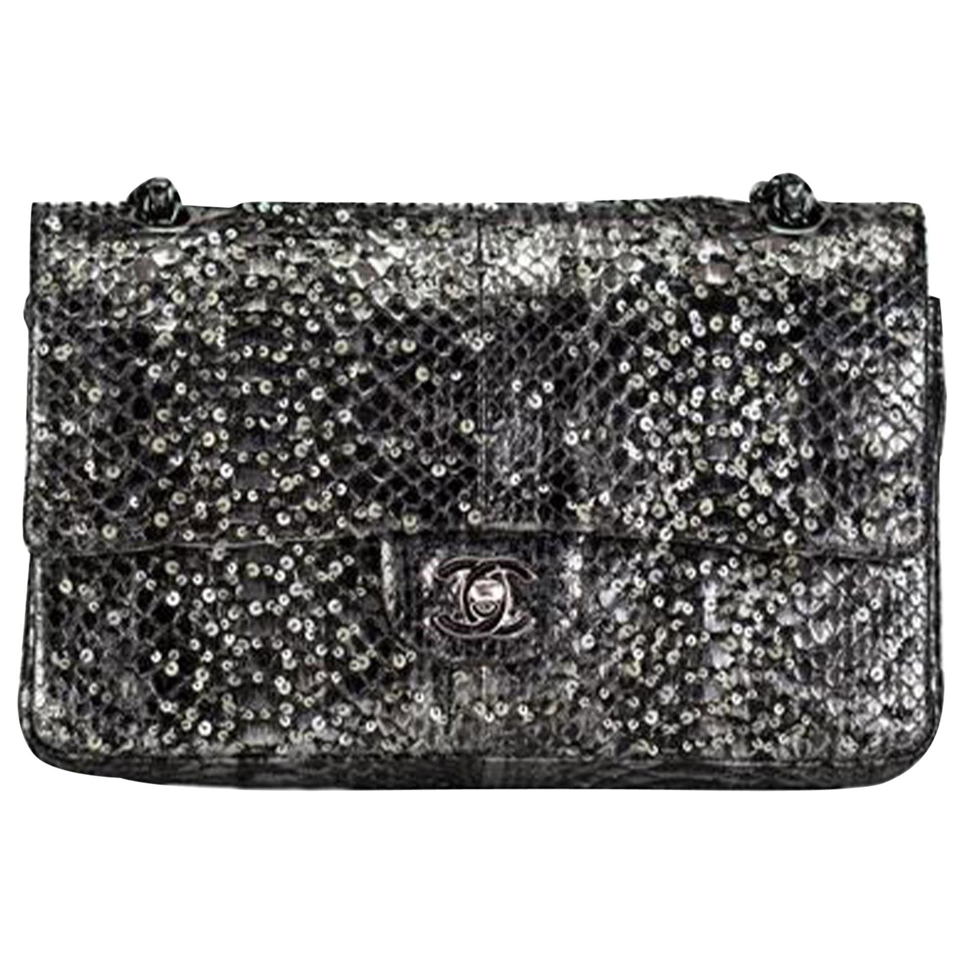 Chanel Classic Flap Exotic Limited Edition Metallic Grey Python Shoulder Bag