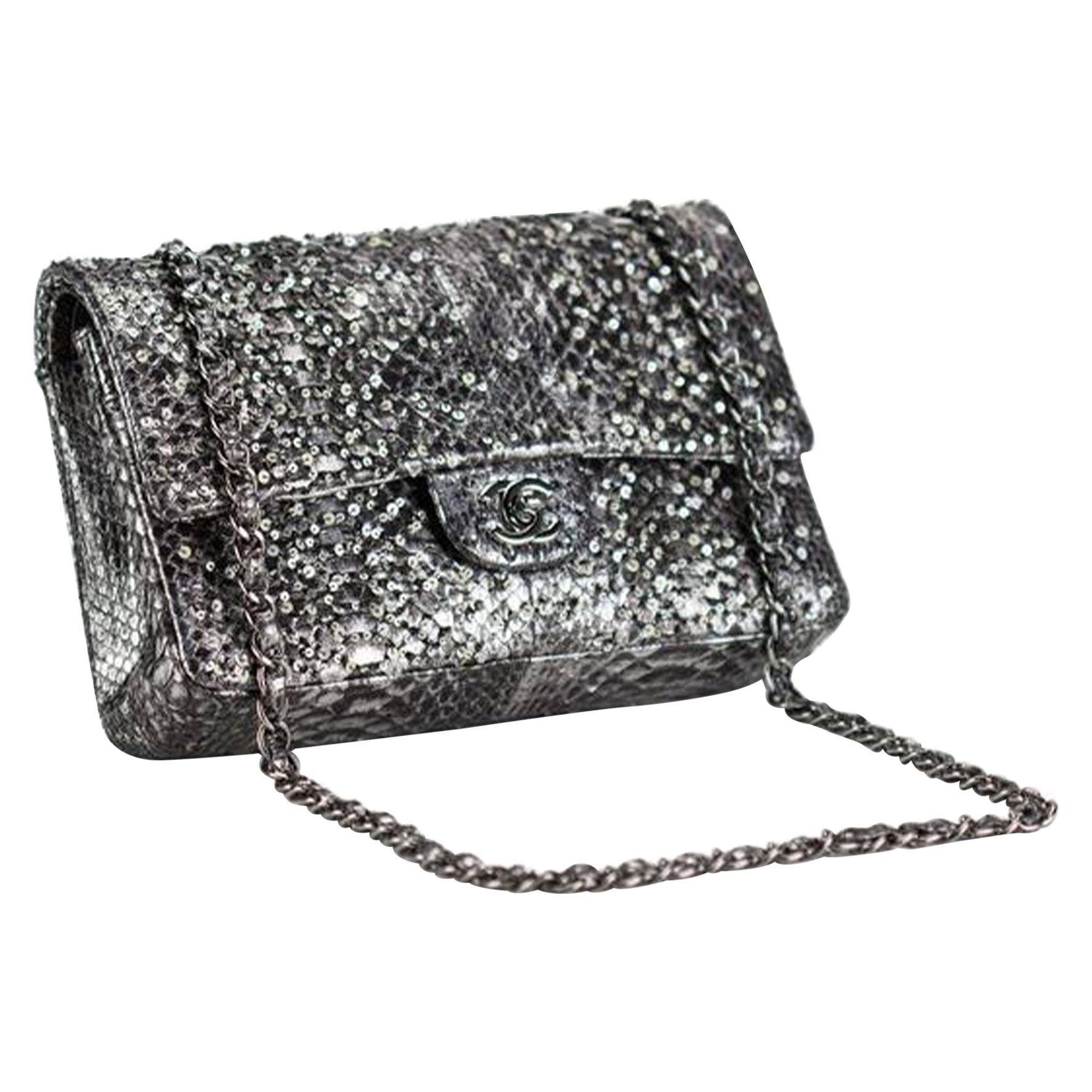 Chanel Classic Flap Exotic Limited Edition Metallic Grey Python Shoulder Bag