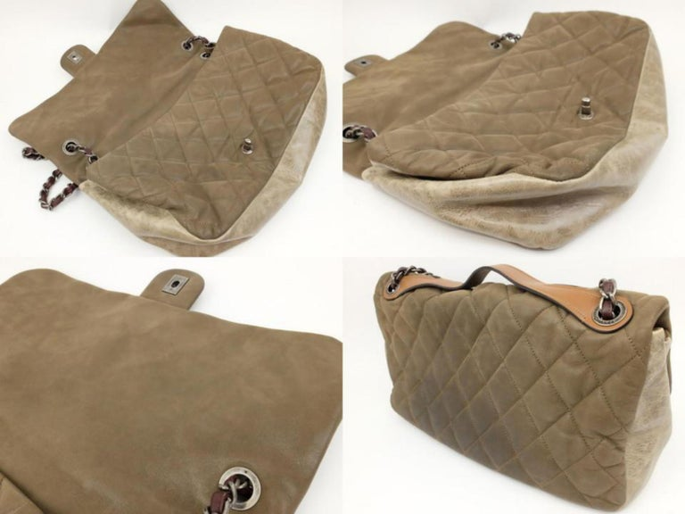 65f32bd3be94 Chanel Classic Flap Extra Large Maxi 2way 230562 Brown Leather Shoulder Bag  For Sale 2