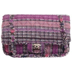 Chanel Classic Flap Fringe Jumbo Rare Limited Edition Pink Multi Color Tweed Bag