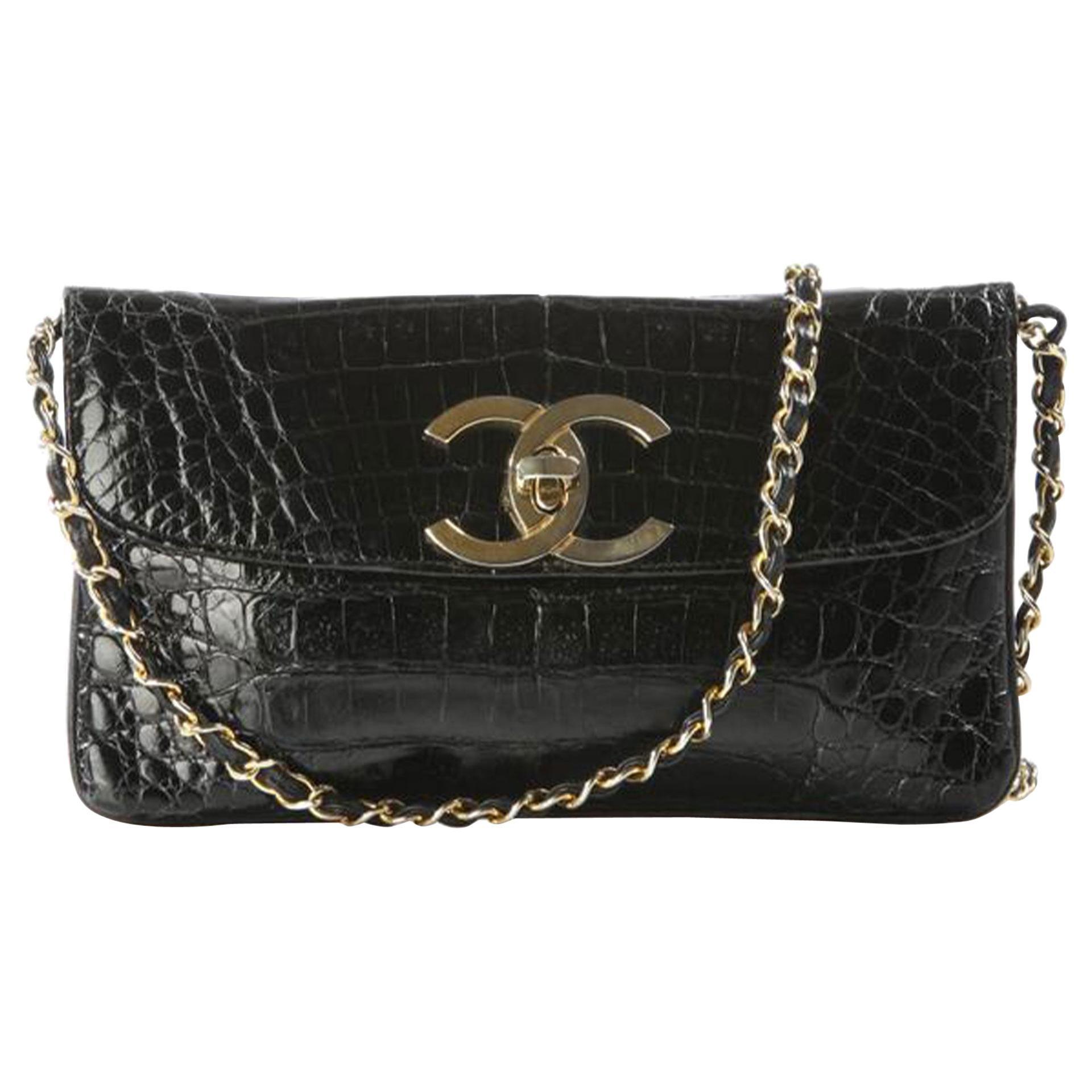 Chanel Classic Flap Giant CC Shiny Vintage Rare Black Crocodile Skin Leather Bag