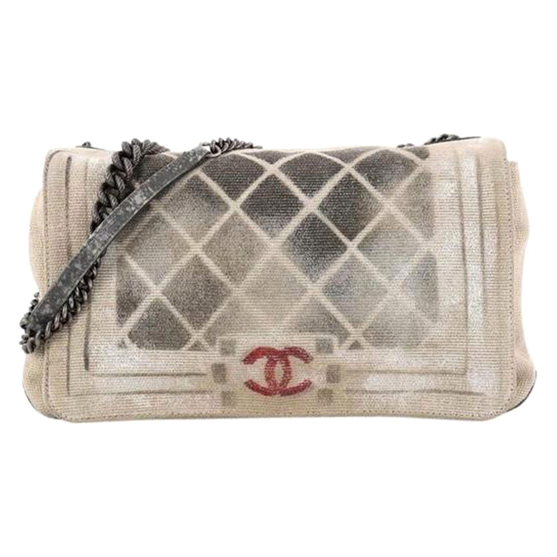 Chanel Classic Flap Graffiti Boy Art School Oh My Khaki Canvas Shoulder Bag