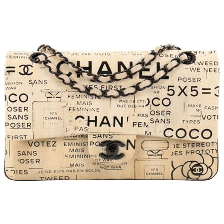 Chanel Classic Flap Graffiti Limited Edition Runway Newspaper Shoulder Bag