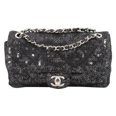 Chanel Classic Flap Hidden Mesh Medium Black Sequins Shoulder Bag