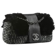 Chanel Classic Flap Limited Edition 2005 Black & White Grey Tweed Fur Lizard Bag