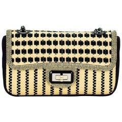 Chanel Classic Flap Limited Edition Beige & Black Raffia Straw Canvas Bag
