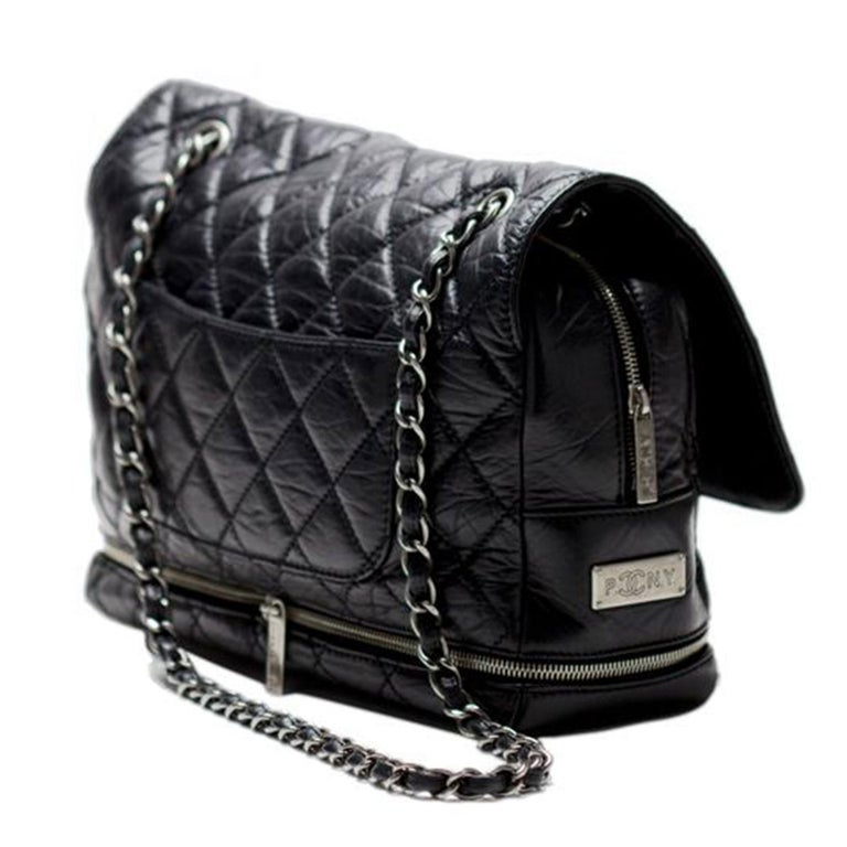 Chanel Classic Flap Limited Edition Pny Jumbo Expandable Calfskin Maxi Black Bag For Sale 2