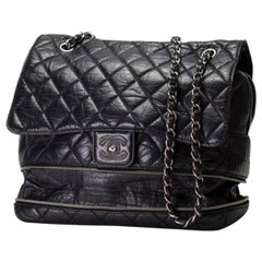 Chanel Classic Flap Limited Edition Pny Jumbo Expandable Calfskin Maxi Black Bag