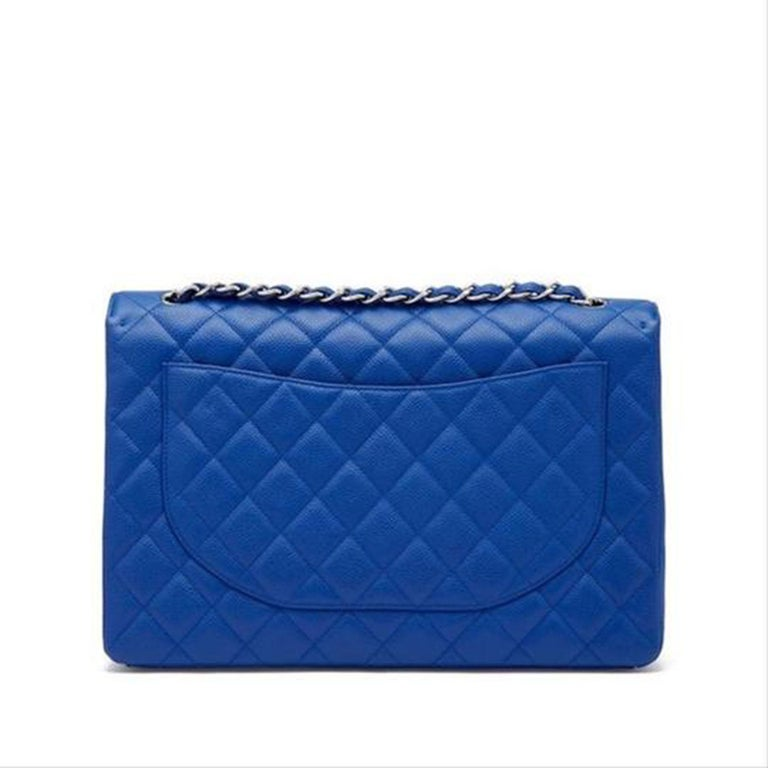 Women's or Men's Chanel XL Classic Flap Limited Edition Maxi Blue Caviar Bag For Sale