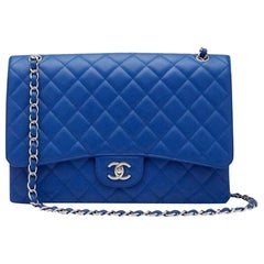 Chanel XL Classic Flap Limited Edition Maxi Blue Caviar Bag