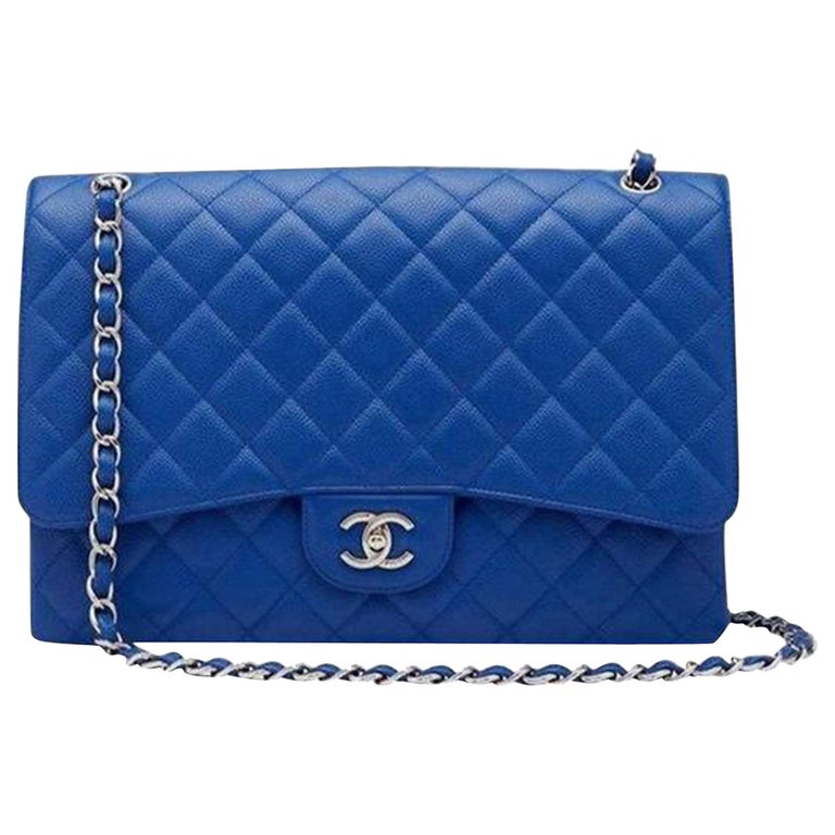 Chanel XL Classic Flap Limited Edition Maxi Blue Caviar Bag For Sale