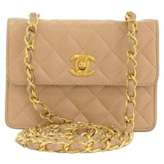 Chanel Classic Flap Micro Mini Beige Lambskin Leather Cross Body Bag