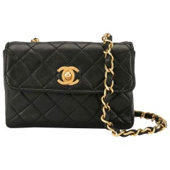 Chanel Classic Flap Micro Mini Vintage 90s Black Lambskin Leather Cross Body Bag