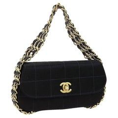 Chanel Classic Flap Mini Multi Triple Chain Around Rare Black Satin Clutch
