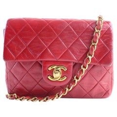 Chanel Classic Flap Mini Square 4cr0703 Red Leather Cross Body Bag