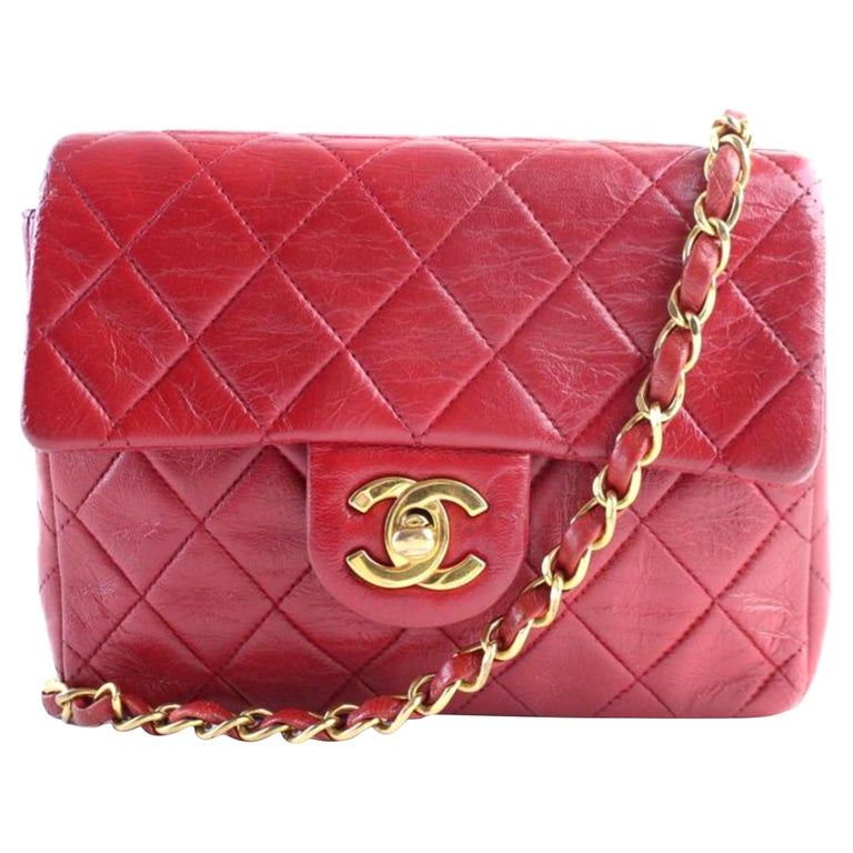 664425fc96b39a Chanel Classic Flap Mini Square 4cr0703 Red Leather Cross Body Bag For Sale