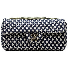 Chanel Classic Flap Navy Vintage Resort Blue White Tweed Nautical Flap Bag