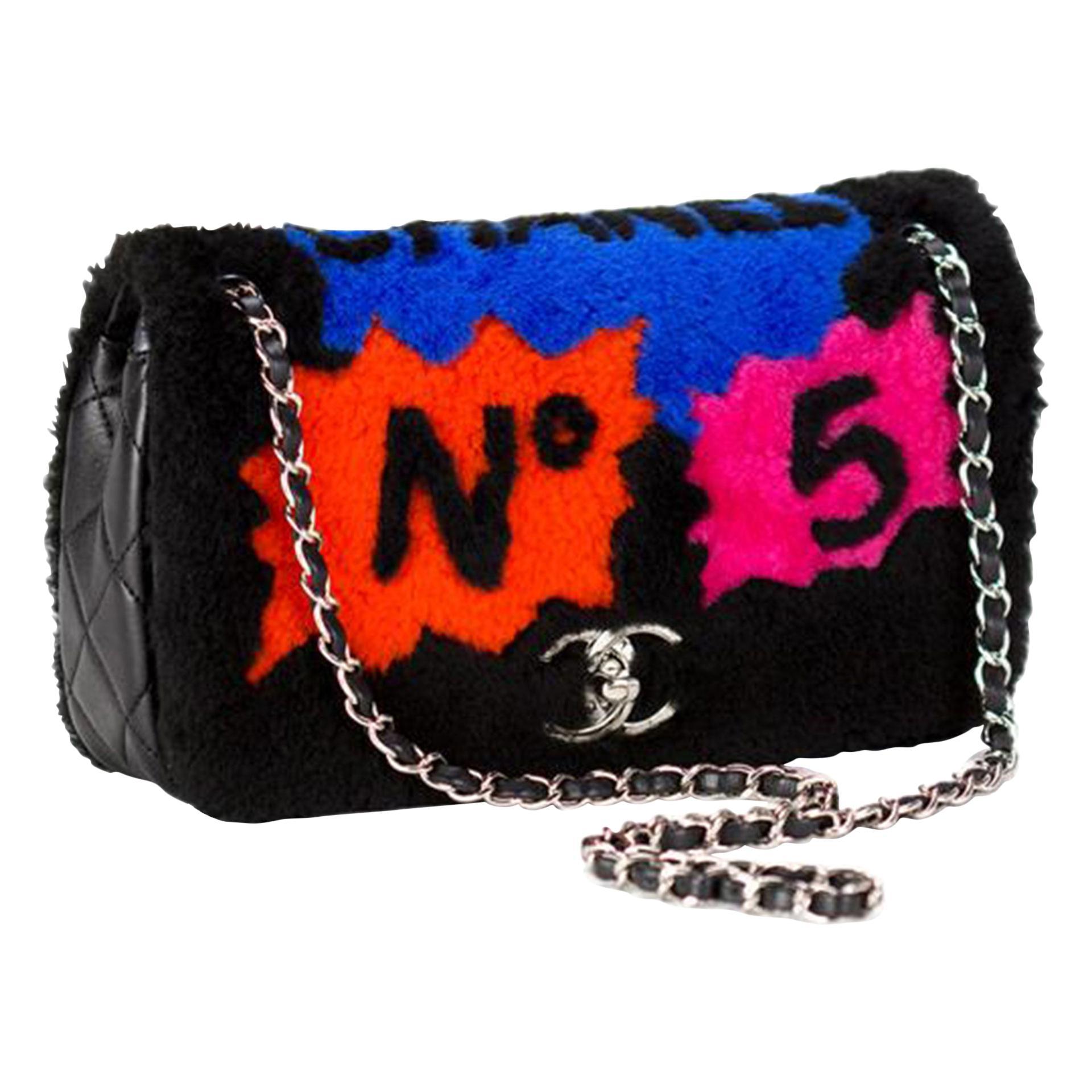Chanel Classic Flap Pop Art No. 5 Caption Comic Lambskin Black Multicolor Bag