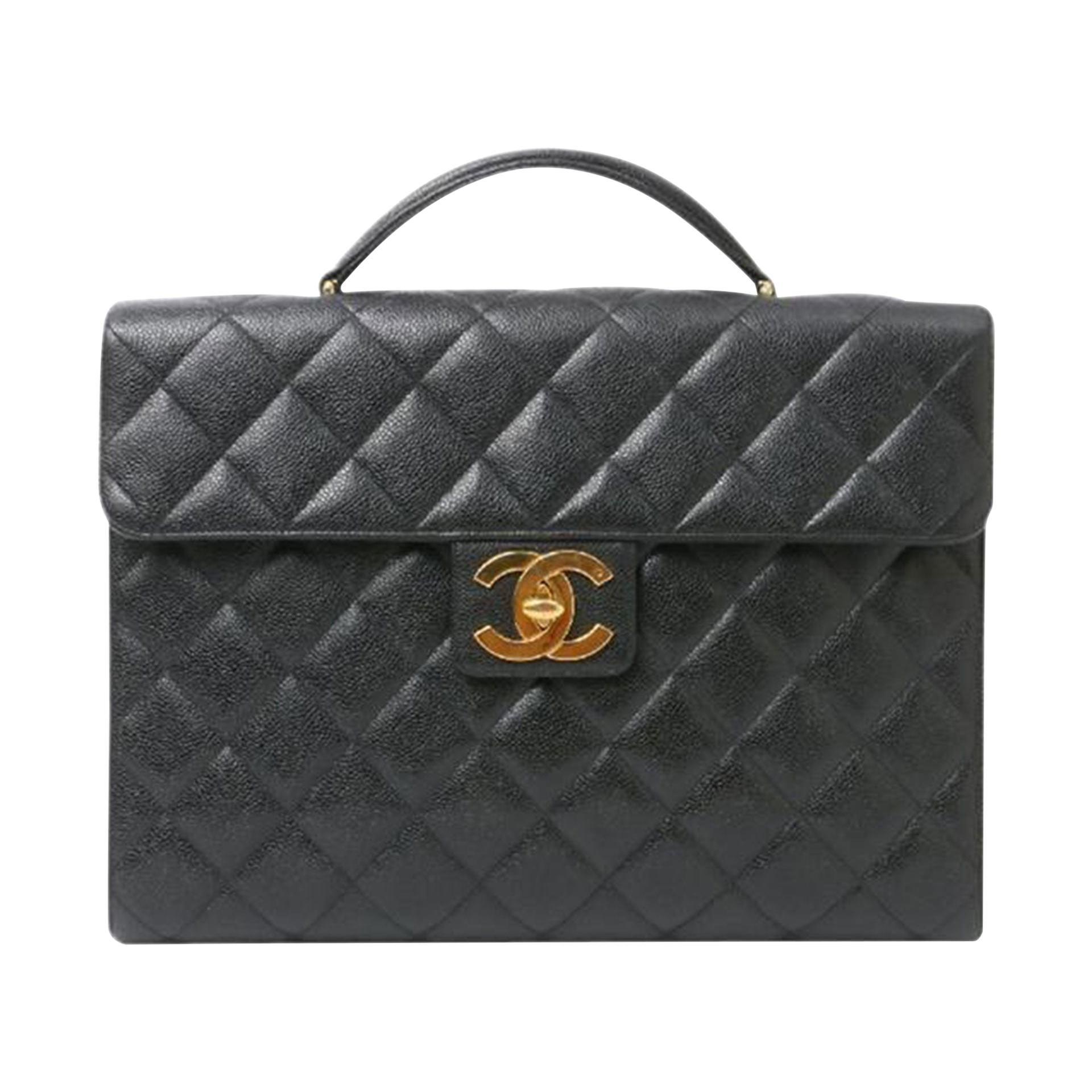 Chanel Classic Flap Portfolio Caviar Briefcase Black Leather Laptop Bag