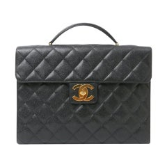 Chanel Classic Flap Portfolio Caviar Briefcase Black Leather Laptop Bag