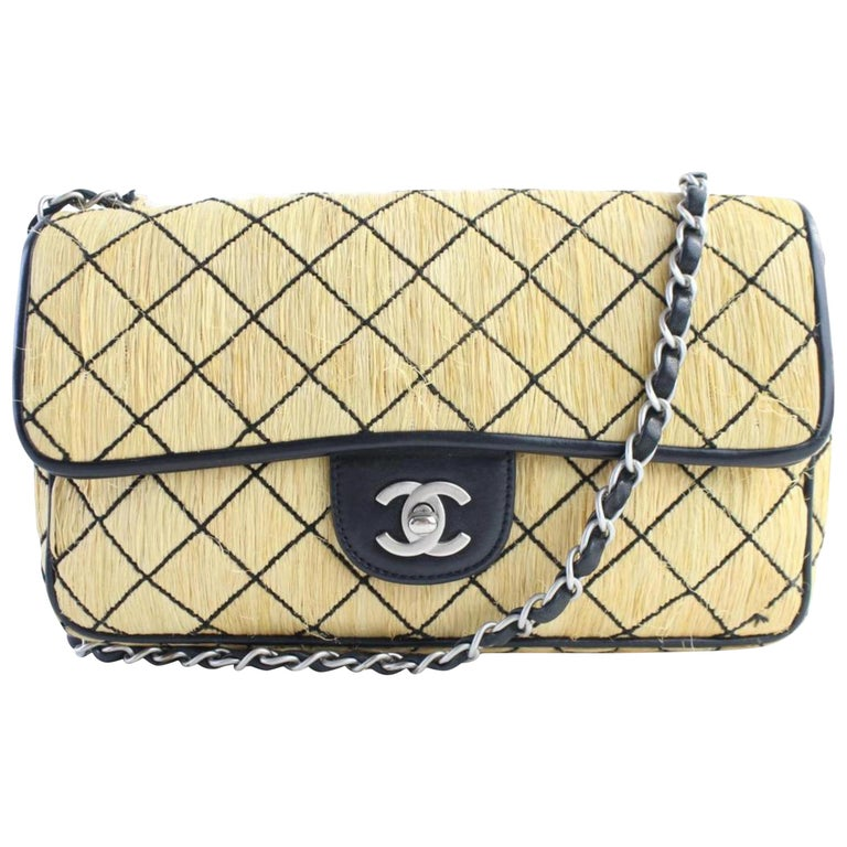 409241cb96e117 Chanel Classic Flap Quilted 14cr0702 Beige Straw Messenger Bag For Sale