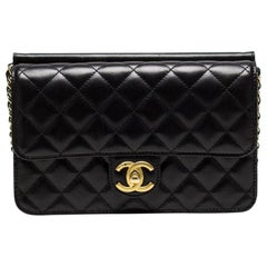 Chanel Classic Flap Quilted Black Lambskin Leather Cross Body Bag