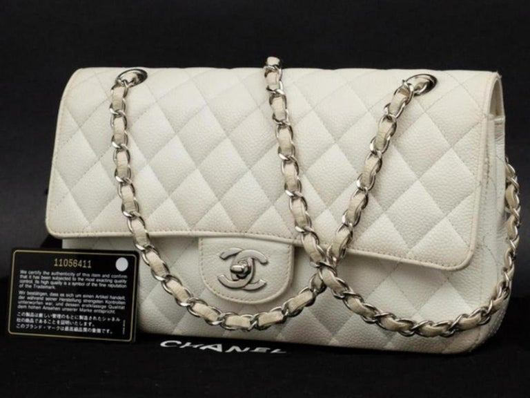 69892af9303d Chanel Classic Flap Quilted Caviar 223000 White Leather Shoulder Bag For  Sale