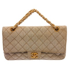 Chanel Classic Flap Quilted Classic Medium Double Beige Fabric Shoulder Bag
