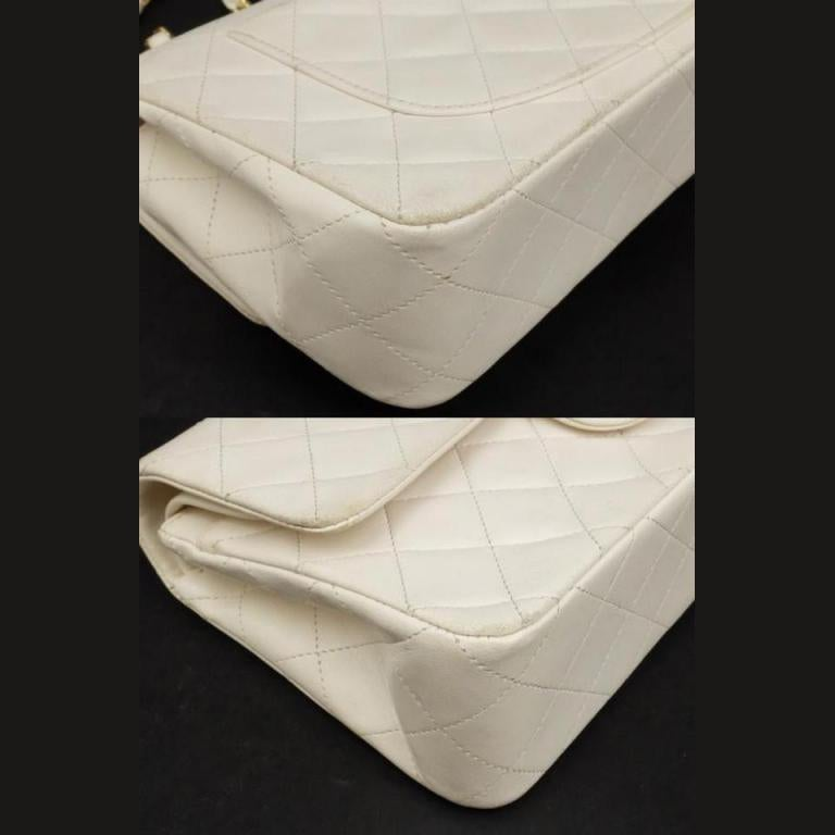 aeb1cc606545 Chanel Classic Flap Quilted Lambskin 229517 White Leather Shoulder Bag For  Sale 6
