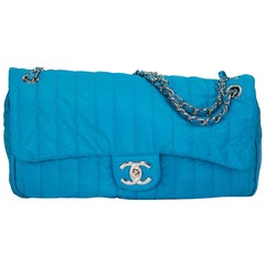 Chanel Classic Flap Quilted Microfiber Acqua Blue Nylon Shoulder Bag