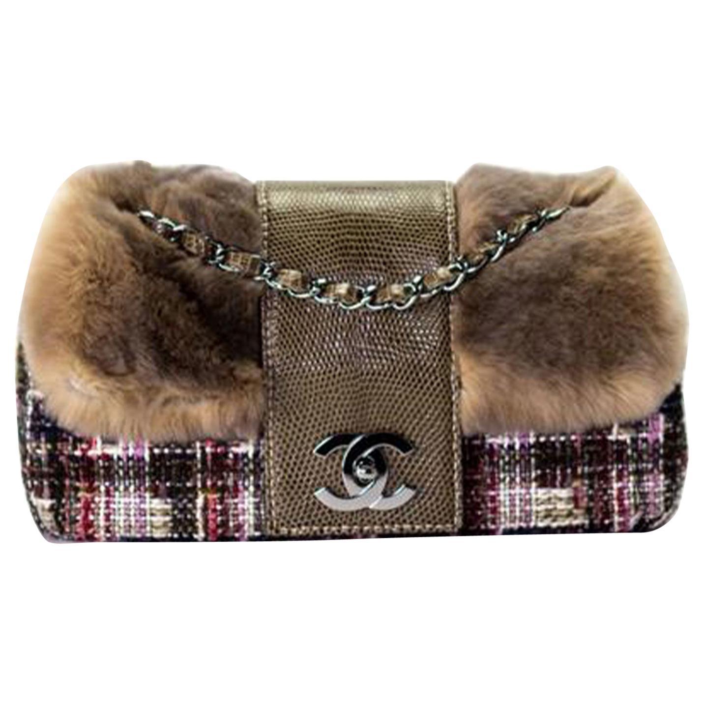 Chanel Classic Flap Rare Limited Edition & Lizard Multi-color Brown Fur Bag