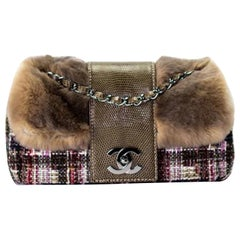 Chanel Classic Flap Rare Limited Edition & Lizard Multi-color Brown Fur Bag