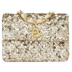 Chanel Classic Flap Rare Micro Mini Vintage Gold Sequin & Microfiber Bag