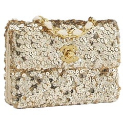 Chanel Classic Flap Rare Micro Mini Vintage Gold Sequin & Microfiber Bag