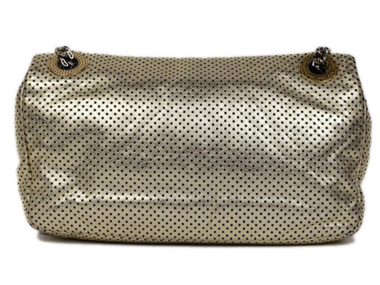 16155ed0bfb3 Chanel Classic Flap ( Rare ) Perforated Drill 215368 Gold Leather Shoulder  Bag For Sale at 1stdibs