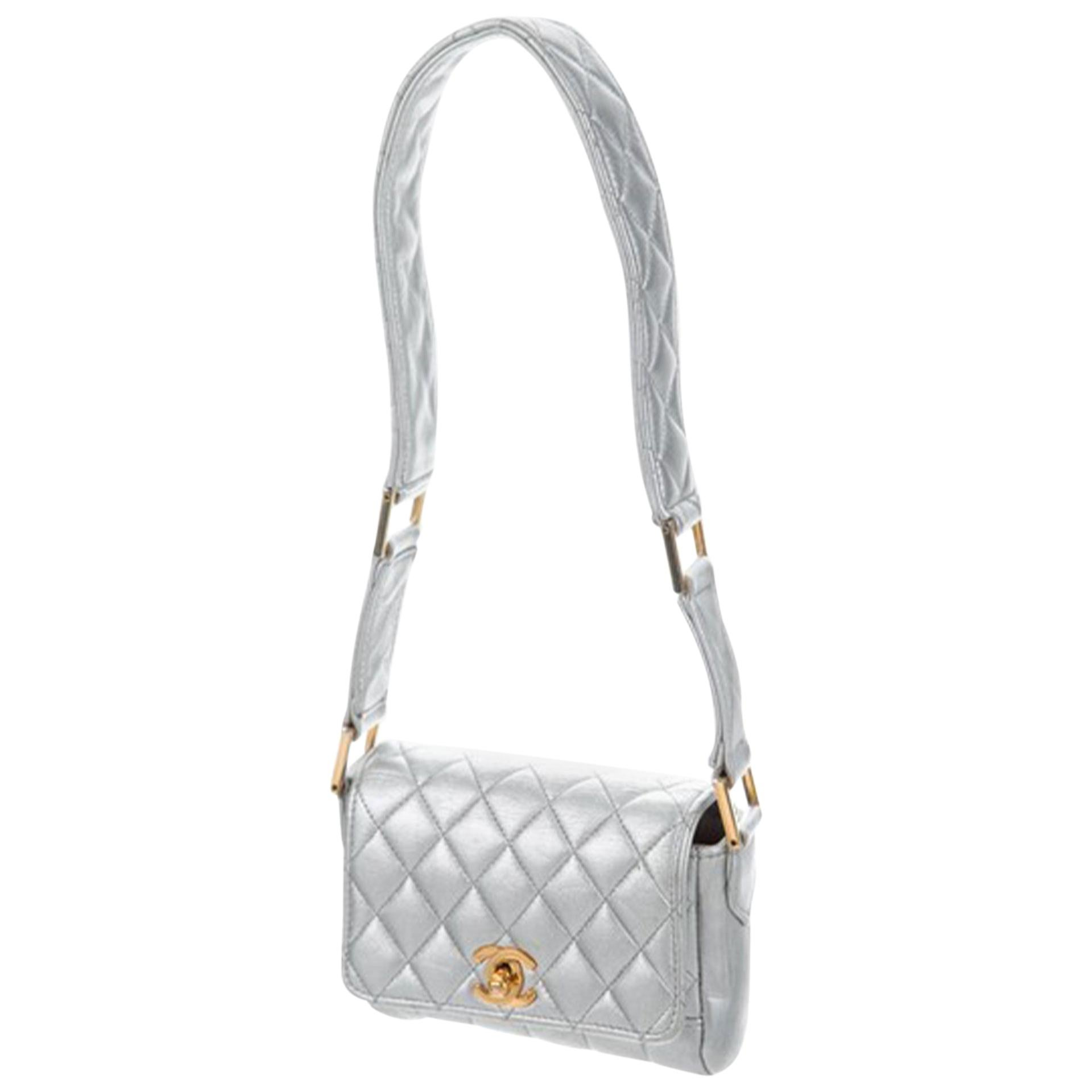 Chanel Classic Flap Rare Quilted Micro Mini Silver Metallic Lambskin Leather Bag