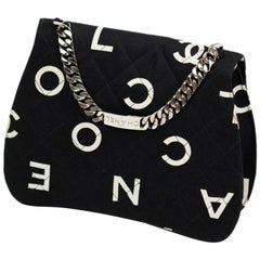 Chanel Classic Flap Rare Vintage and Letter Nameplate Black & White Canvas Tote