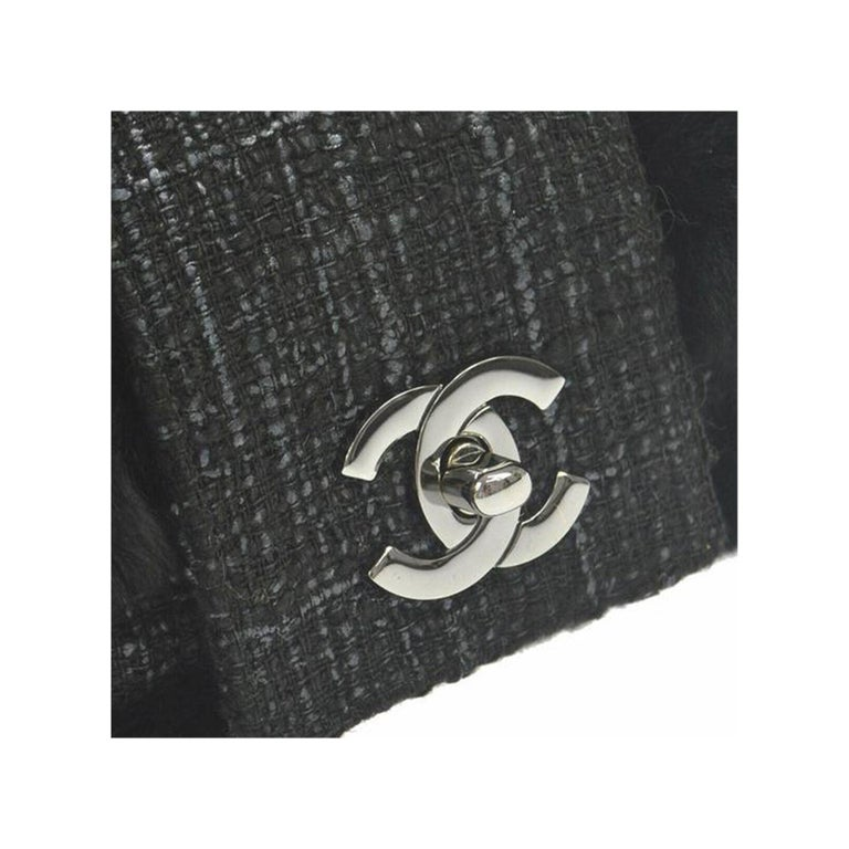 Chanel Rare Vintage Classic Flap Orylag Fur Grey Tweed   2005 {VINTAGE 16 Years} Silver hardware Classic CC turn lock  Black microfiber Chanel logo  interior lining Center zippered pocket 9.8